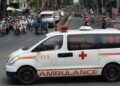 Xe cấp cứu 115 tại một giao lộ ở Q5, TP.HCM tháng 4-2020  Ảnh: T.T.D.